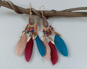 Multi-color Natural Feather Earrings for Women Dangle earrings Handmade 4cmx11cm