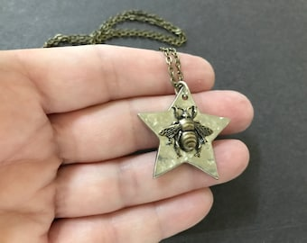 Bee Necklace, Silver Star Necklace, Hammered Star, Bumble Bee, Bee Pendant, Woodland Bug, Bee Lover, Nature Inspired, Be A Star, Insect