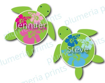 Hawaiian Honu Sea Turtle Personalized Magnets for Cruise Door or Home