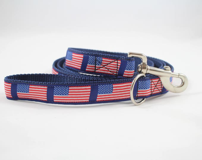 American flag dog leash, fourth of July leash,  patriotic dog gear, molded plastic or metal buckle, pet accessory, pet gift, Bozies Bags