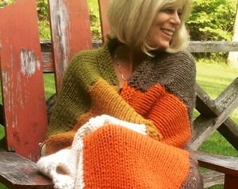 Knitting Pattern AUTUMN STRIPES Blanket