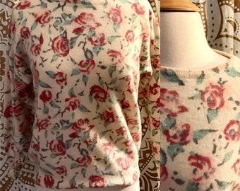 VTG 80s Doe 50s Wool Rose Print ANGORA Mad Men Rockabilly Sweater Top L