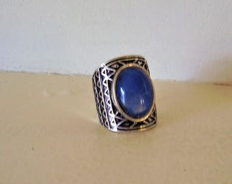 Silver tone Blue Statement Ring 7.5