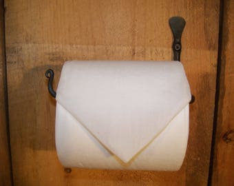 "Hand Forged ""Thumbprint"" Toilet Tissue / Paper Holder made by Blacksmith"