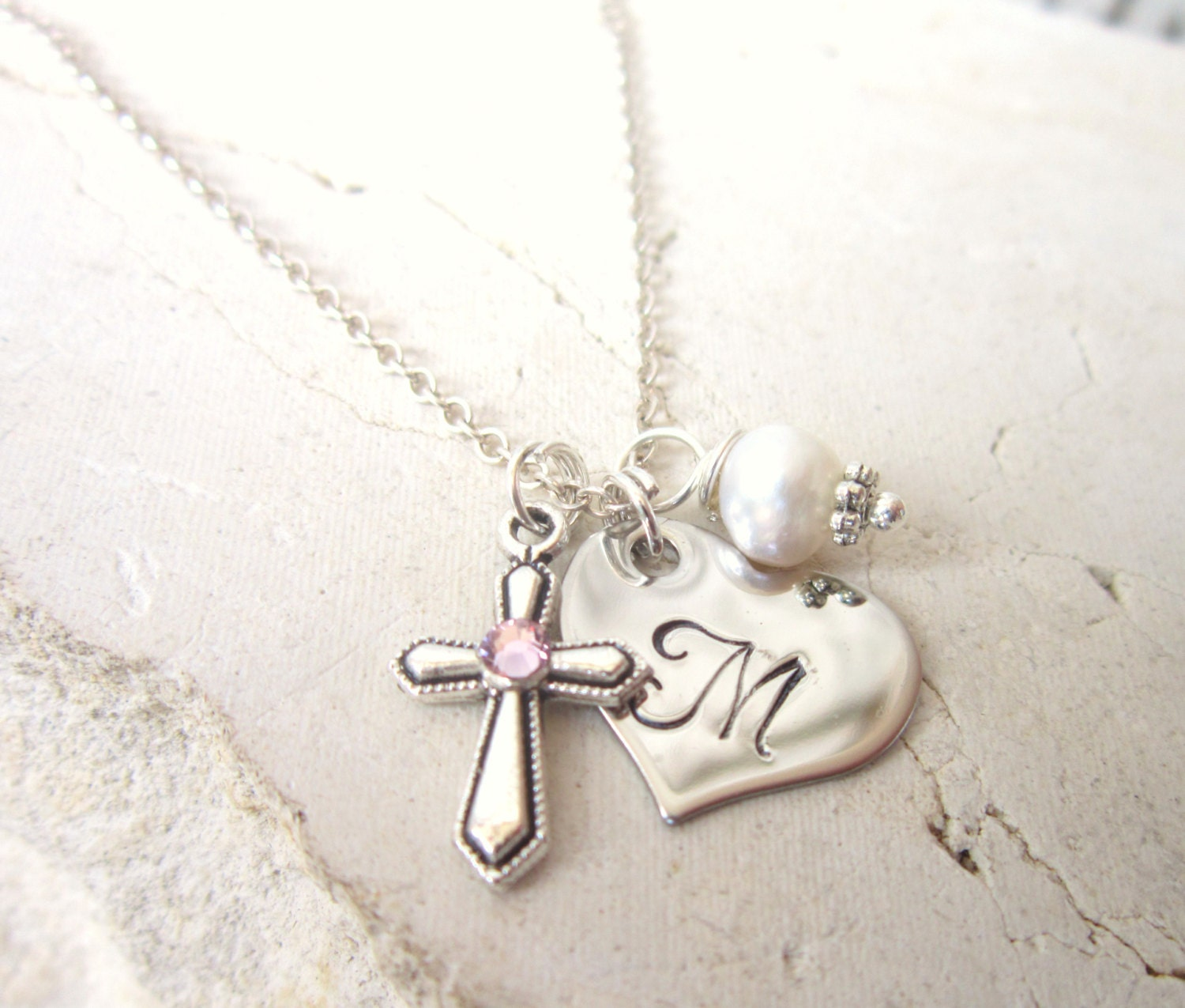 necklace heart communion first cross personalised asp charm with p crystal