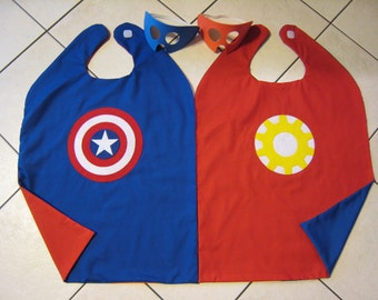 Reversible Captain America Iron Man Super Hero Cape Boys Mask Costume