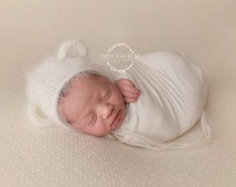 Angora Bear Bonnet Pattern - PDF PATTERN - newborn baby knit prop hat diy