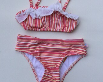 Pink and Yellow Striped Bikini (Childrens Size 2T)