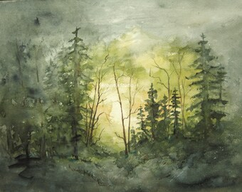 Fine Art Print of original watercolor painting, 11x14 art print, watercolor landscape, forest painting, woodland painting, watercolor art.