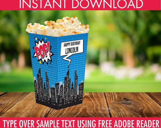 Superhero Popcorn Box - Superhero Party, Superhero Birthday, Superhero Decor, Superhero Box | Editable Text INSTANT Download PDF - Printable
