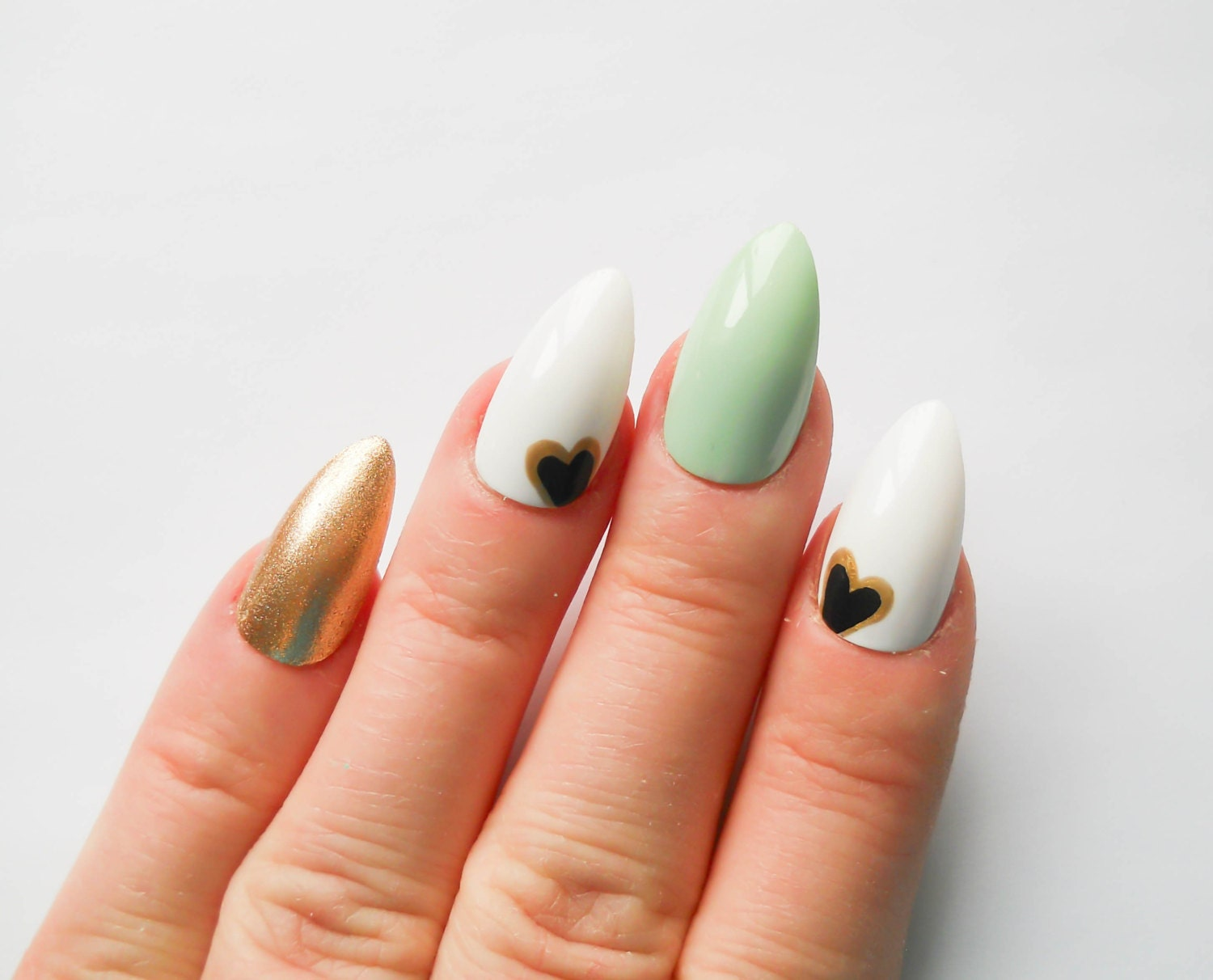 MInt Green and Gold Nails / Fake Nails / Stiletto Nails / Press on ...