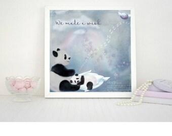 Personalised Nursery Wall Art Print Baby Girl Bedroom Pandas Lullaby Baby Sleeping Name