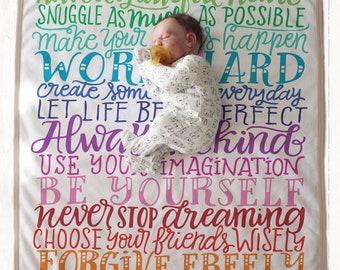 Arc en ciel règles familiales couverture - The ORIGINAL - arc en ciel - faire-part de naissance - arc en ciel polaire couverture de bébé