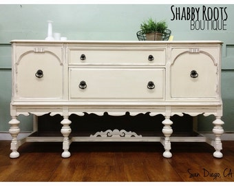 SOLD Antique 1920's jacobean buffet sideboard  white shabby chic San Francisco, California