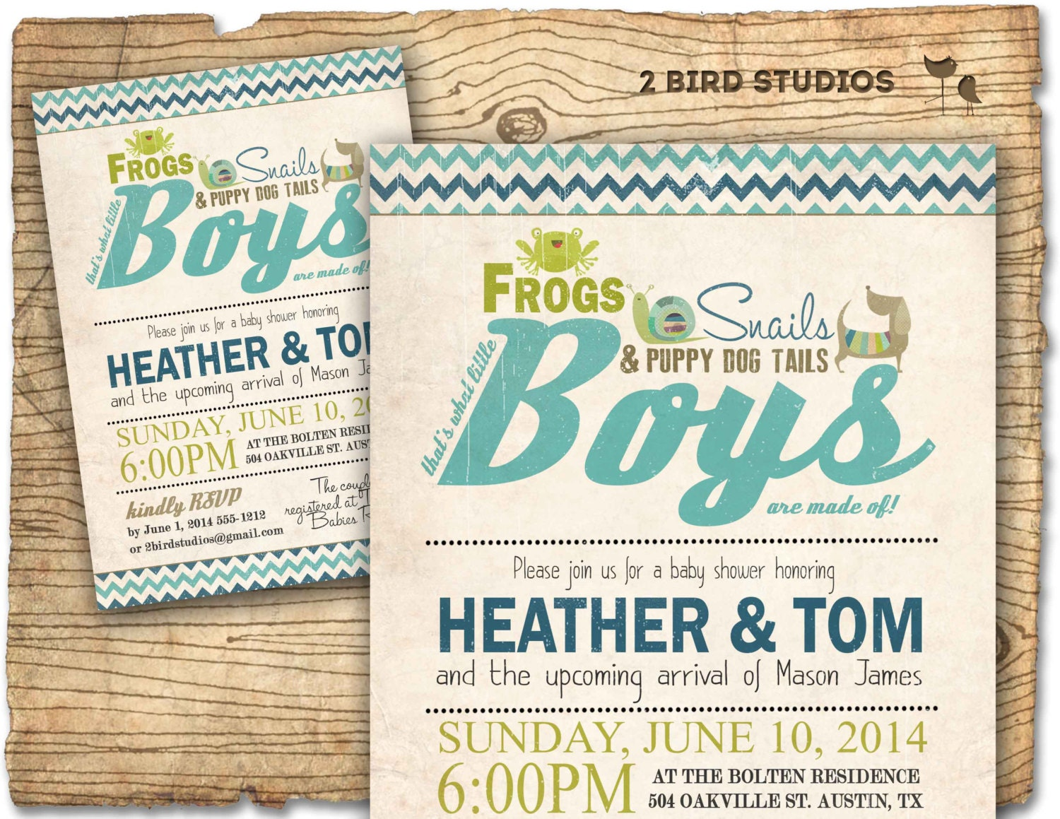 Boy baby shower invitation frogs snails puppy dog tails baby