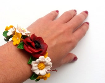 Floral Accessories, Flower Bracelet, Bracelet For Women, Corsage Bracelet, Poppy Jewelry, Daisy Jewelry, Wedding Jewelry, Bridal Bracelet