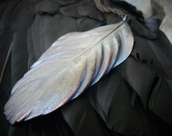 Electroformed crow feather_copper-plated_pagan pendant_natural raven feather covered with copper_totem amulet_witch jewelry_metal pendant