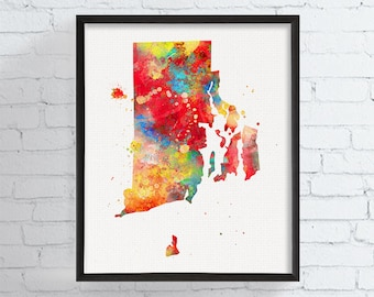 Rhode Island State Art, Rhode Island Map, Watercolor Map, Rhode Island Poster, Rhode Island Wall Decor, Rhode Island Art Print, Dorm Decor