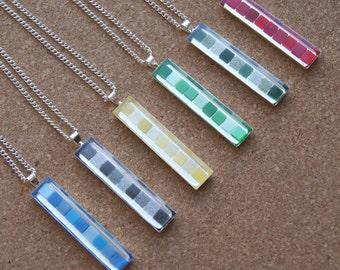 Multicolor Mosaic Pendant - Mosaic Necklaces - Colorful Resin Necklaces - Multicolor Mosaic - Micro Mosaic Pendant - Colorsite