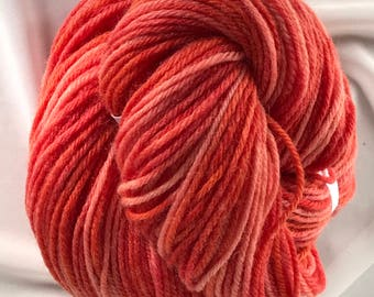 """220yds Light Worsted Hand Dyed New Wool Yarn 100g - """"Persimmon"""""""