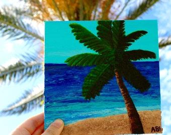 Original Palm Tree Beach Acrylic and Sand Painting