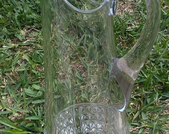 Vintage Cut Lead Crystal, Georgian Style, Diamond/Honeycomb Pattern, Footed Water Pitcher/Ewer/Decanter, Crystal