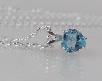 Sky Blue Topaz Heart Necklace in Sterling Silver, 6mm Blue Topaz Gemstone, December Birthstone Jewelry, Valentines Day Gift, Topaz Pendant