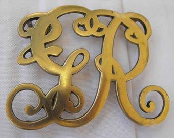 Vintage Brass Trivets, Pair, King George, Initials GR, Hallmarked, c1941 NT-1189