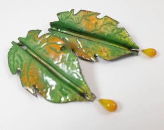 Enameled leaf Pendant Connectors,Foldform Copper Leaves,Lampwork Glass Headpins,Boho Handmade Supplies,Colorful Earring Components,2 holes