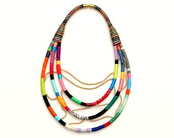 Colorful Statement Art Necklace, Multi Strand Textile Beaded Necklace, Big Fabric Rope Necklace, Unique Gif For Her, Artisan Necklace