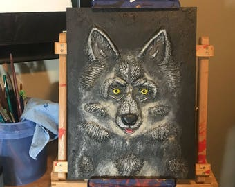 3-Dimensional Sculpted Wolf Painting