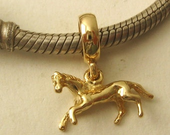 Genuine SOLID 9K 9ct YELLOW GOLD Charm Horse Drop Bead