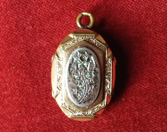 French antique, gold plated pearl mourning reliquary locket