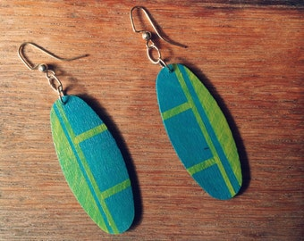 Wooden Earrings | Teal Earrings | Key Lime Lines | Stripes