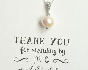 6 Pearl Necklace Silver, Single Pearl Necklace in Silver, Pearl Bridesmaid Necklace, Bridesmaid Jewelry Gift, Bridal Party Gifts - NK6