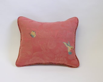 Pink Hummingbird, Butterfly and Bee Pattern Rectangle Pillow with Striped Fabric on Back
