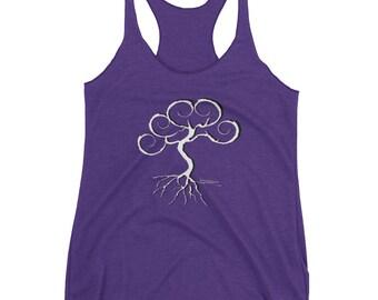 Tree of Life on Women's Racerback Tank Top, Tree shirt, Sonora Kay Tree of Life Logo, Original Artwork, Summer Time Apparel
