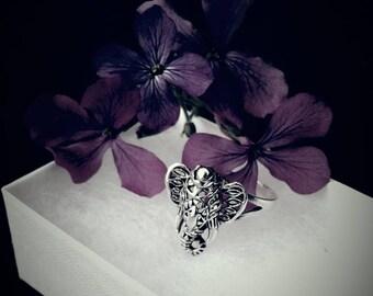 Ganesha Ring, Hindu Elephant Ring, Solid Sterling Silver Filigree Ganesha Elephant Ring, Ganesh Jewelry