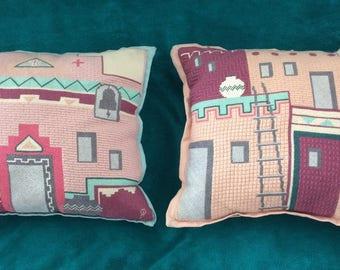 Vintage Native American  Needlepoint Pillows