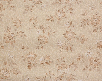 1920s Vintage Antique Wallpaper Brown and White Flowers on Beige--Made in Belgium