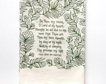 Hymn Tea Towel Be Thou My Vision | Christian wall art gift for her teacher gift idea mothers day art print kitchen towels