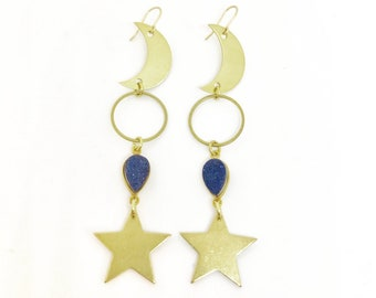 Zenon Celestial Earrings with Blue Druzy Crystals and Moons and Stars