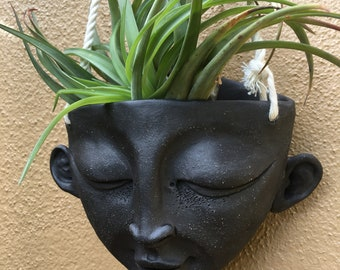 Hanging Ceramic Face Planter - Lover , You