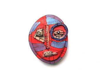 Modern abstract mask, Modern sculpture, Blue wall mask, Mixed Media wall mask, Original mask, 3D wall art, Red Mask, Abstract Sculpture