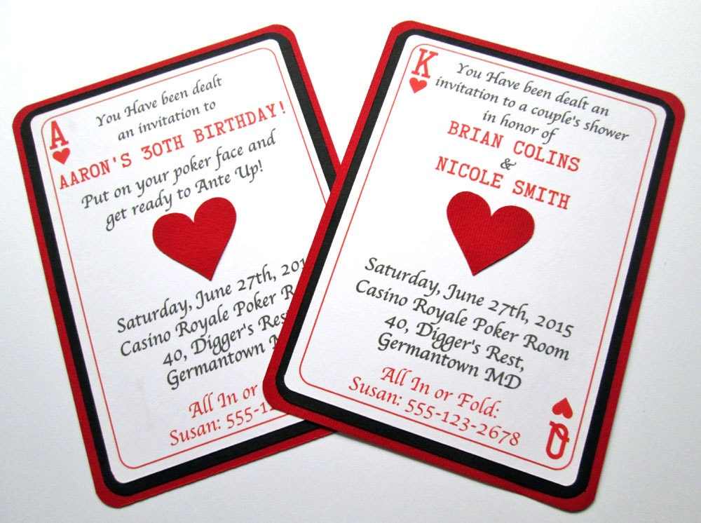 Casino Invitations Casino Party Casino Birthday Invitations