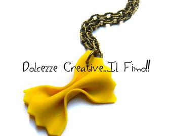 Necklace of pasta - farfalle - miniature polymer clay and cernit - kawaii miniature-- gift idea