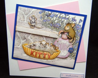 Bubble Bath Mice Joanna Sheen design handmade General Greetings card - Funny card - With Love - Cheeky Mice - Cute card