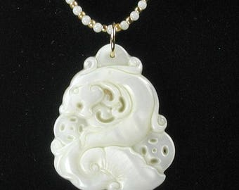 Mother Of Pearl Carved Dragon Pendant Adjustable Necklace Ivory