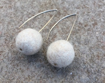 Felted Ball Alpaca Wool Earrings