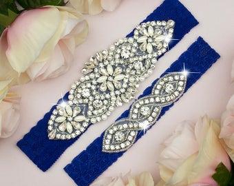 Royal Blue Garter, Something Blue, Garter Set Blue, Blue Wedding Garter, Blue Garter Set, Bridal Garter Set, Toss Garter, Bridal Garter 3-1A